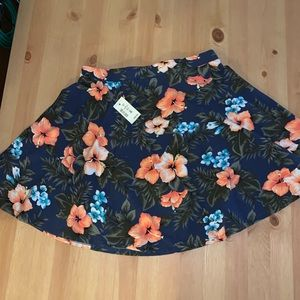 Aero Hawaiian flower circle skater skirt